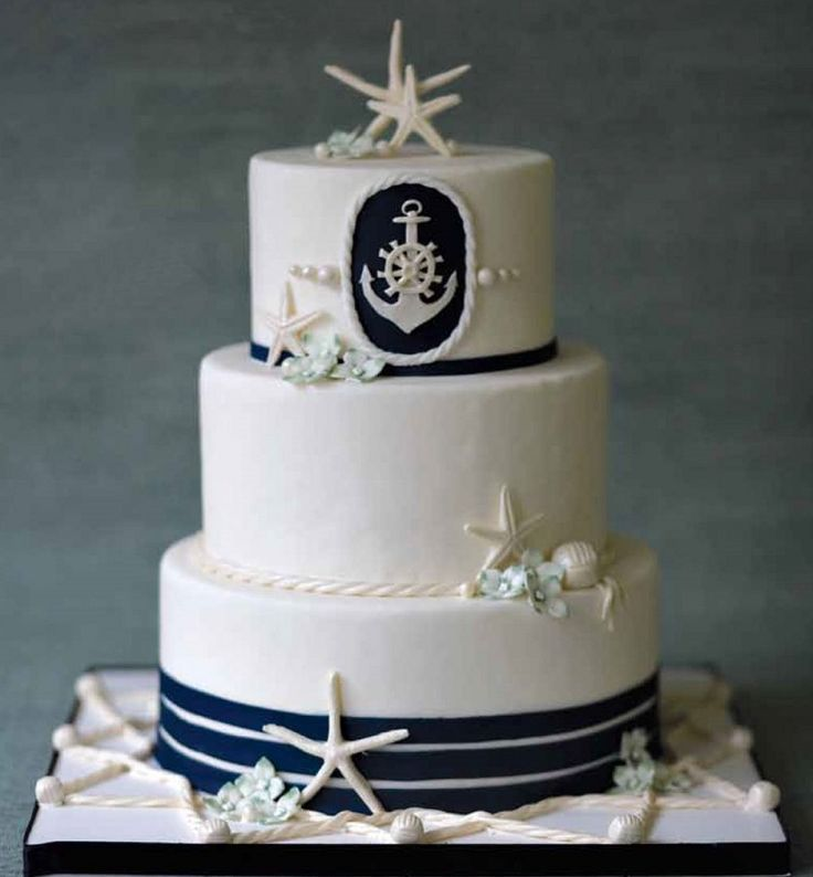 Nautical Wedding Cake With Starfishes: Beach Theme Wedding Cake Decorating Ideas