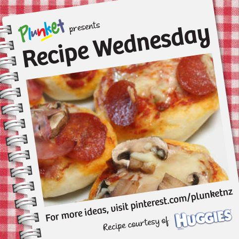 facebook These Mini pizzas from Huggies New Zealand are a quick and simple recipe for getting the kids involved, they're also a delicious meal for the whole family! #recipewednesday