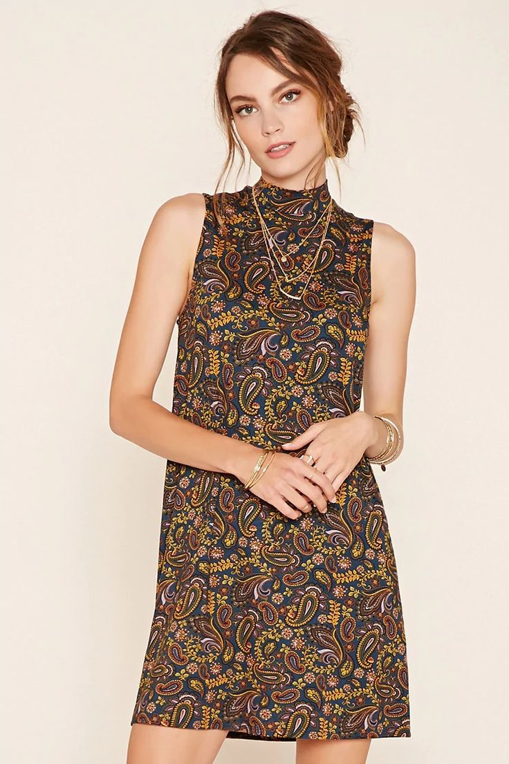 Forever 21 Contemporary - A knit shift dress featuring an allover paisley print, mock neck, and a sleeveless cut. #f21contemporary