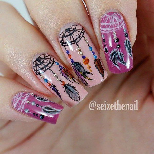 35 Cool Dream Catcher Nail Designs For Native American Fashion Dream Catcher Nails Dream