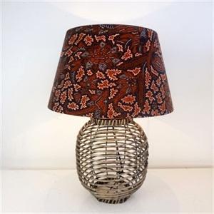 SH Batik Shade Lamp on Rattan Base