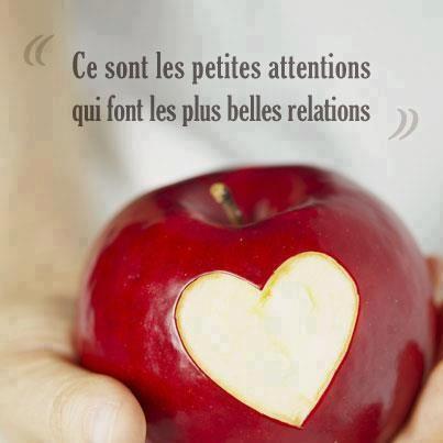 """""""Ce sont les petites attentions qui font les plus belles relations"""" #citation #pomme #saintvalentin"""