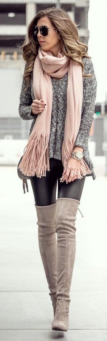 #winter #fashion / Pink Fringe Scarf / Grey Knit / Black Leather Leggings / OTK Boots