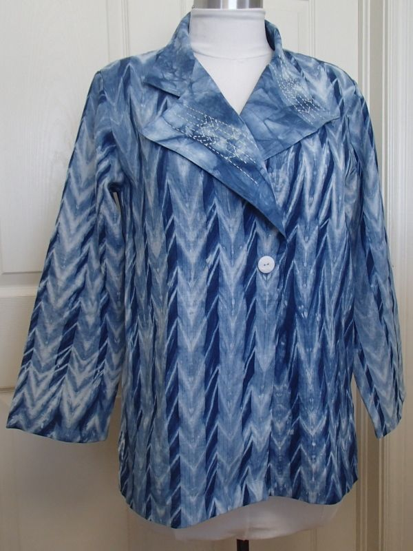 Shibori indigo dyed linen jacket. The linen, originally white, was created in a summer indigo  workshop with Pam Woodward