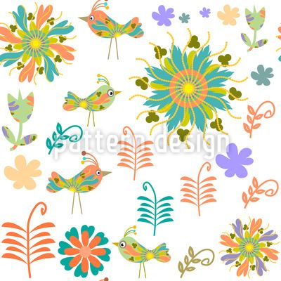 Patchwork Birds Pattern Design