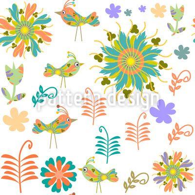 Patchwork Birds Pattern Design
