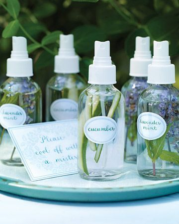 A misting station is a great way to keep cool in the summer.  Simply fill mist bottles with water and a few strips of cucumber or sprigs of lavender and mint. Cucumber is known for its hydrating properties, and lavender and mint are reputed insect repellents.