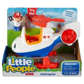 Fisher-Price Little People Spin 'n Fly Helicopter: Fasten your seatbelt and let's go for a spin-- in the Little People Spin 'n Fly Helicopter from Fisher-Price. Squeeze the trigger on the helicopter's tail to discover fun music and sounds. Spin the propeller. Connect the basket to the bottom of the helicopter to pick up cargo or passengers. And of course, the helicopter includes a friendly pilot, Mia, to get the fun off the ground. Features: Perfectly sized for...