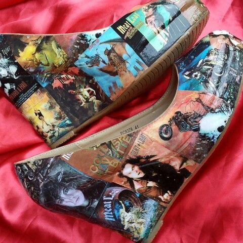 Meatloaf custom wedge heels See more at facebook.com/inspiredbyshoes Or see link in profile #meatloaf #singer #album #popstar #music #inspiredbyshoes #custom #heels #shoes #sings #concert #batoutofhell