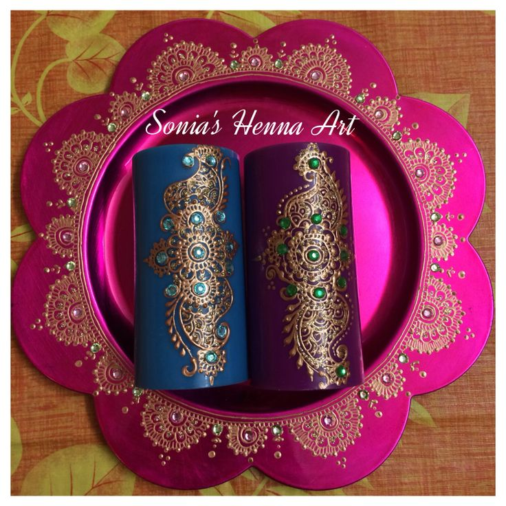 Hand crafts -- Mehndi unique decor idea, henna candle henna plate