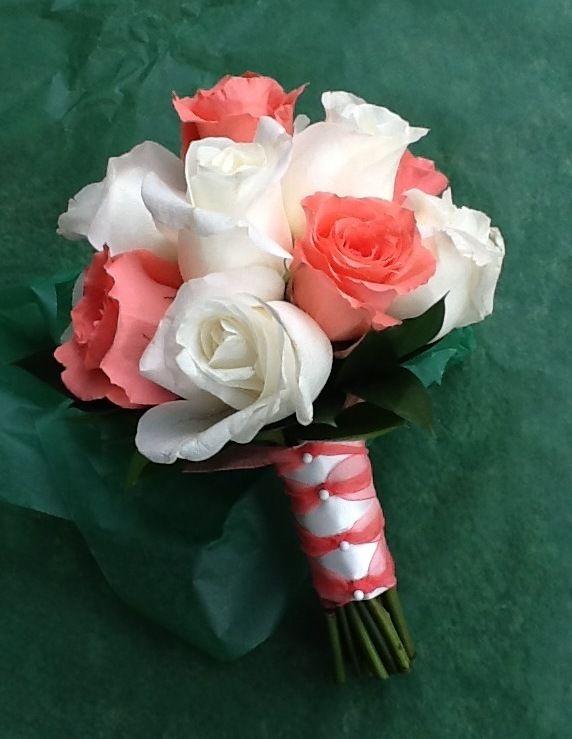 Coral & white rose Bridesmaids Bouquet