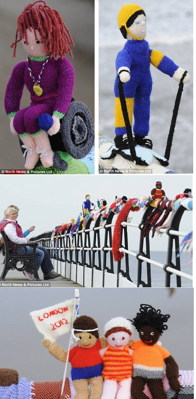 Yarn Bombed: People are flocking to see a mystery addition to the seaside town's historic pier, in Saltburn, North Yorkshire, where every few feet, a different Olympic sport is portrayed, all with their own little knitted athletes.