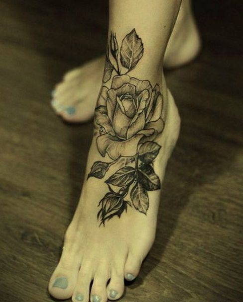 tattoos i like pretty tattoos rose foot tattoos white tattoos tattoo ...