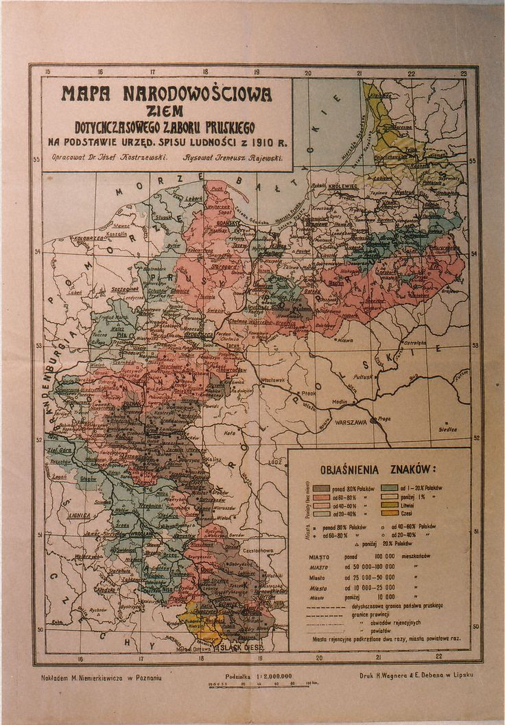 Ethnic map of the former Prussian partition