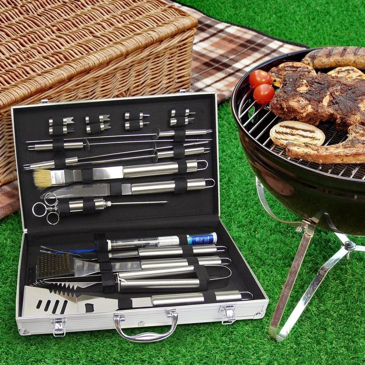 Amazon.com : Aristocrat Homewares - Complete Premium 21 pc BBQ Grill Set - Includes Meat Thermometer and Meat Injector Set- Nothing else to buy! : Patio, Lawn & Garden