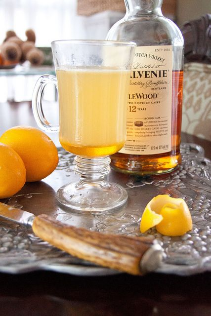 Hot Toddy 1 shot whiskey or bourbon,  2 T honey, juice from ½ lemon, boiling water. Mix the whiskey, honey, and lemon juice in a mug. Fill with boiling water.