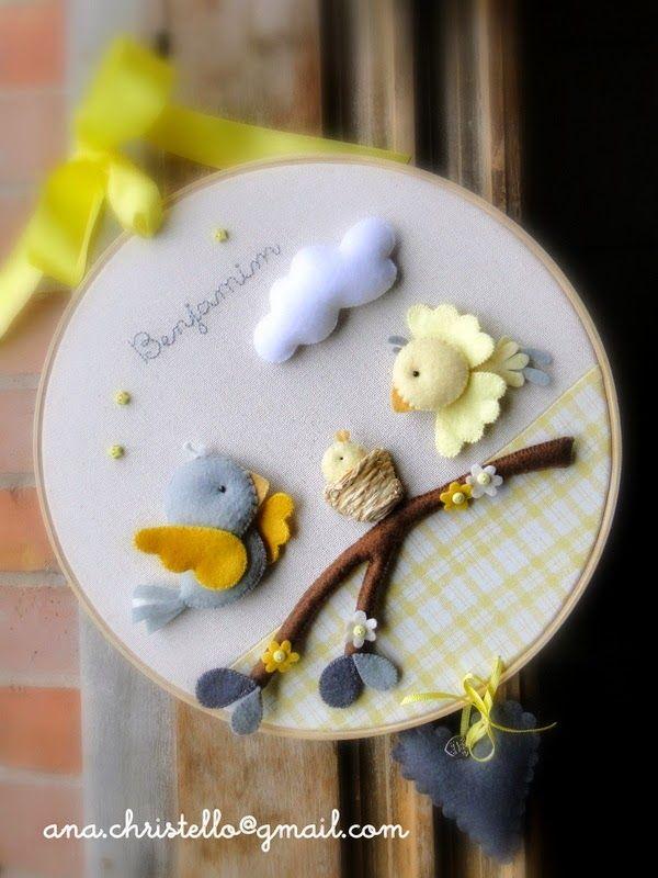 : Bastidor - porta de maternidade - passarinhos