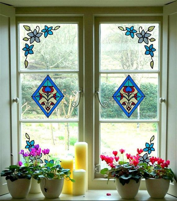 Stained glass cling window stickers set 2 diamonds and 4 floral corners handmade