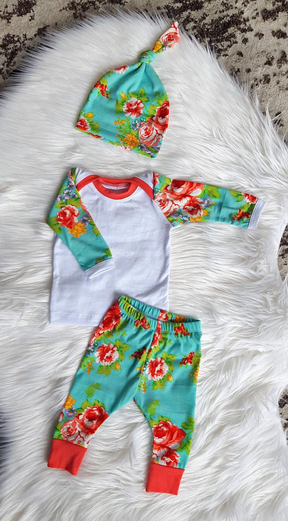 Newborn Girl Coming Home Outfit, Floral, Baby Girl, Pants, Shirt, and Matching Knot Hat,  Size newborn, 0-3 Mos, 3-6 Mos