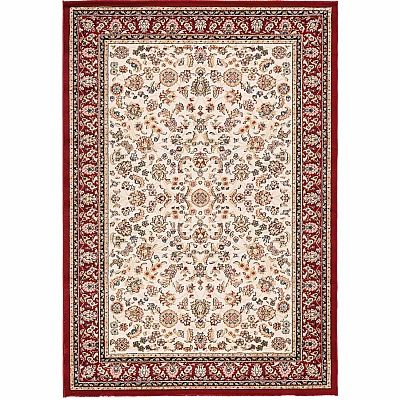 Red Persian Carpet, traditionally decorate 'Ivory Kashan' rug