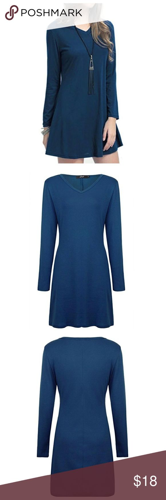 """NEW Navy V Neck Long Sleeve Tunic Dress Sz. L New with tags.  Navy Blue Semi-loose fit, long sleeve, V neck, tunic dress. This tunic dress is made with heavy weight, knit that is very soft, drapes well and has great stretch. Comfortable tunic style fit. Pair with boots and a denim jacket for a causal look or dress this beauty up with heels and a sassy cardigan! Perfect for the season!  Material: 65% Cotton. 35% Spandex  Shoulder to hem: 34""""   Armpit to Armpit: 19"""" Dresses Long Sleeve"""
