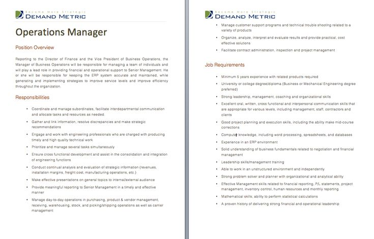 Operations Manager Job Description - A template to quickly ...
