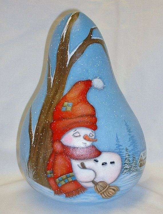 Sleeping Snowman Gourd  Hand Painted Gourd Art by FromGramsHouse