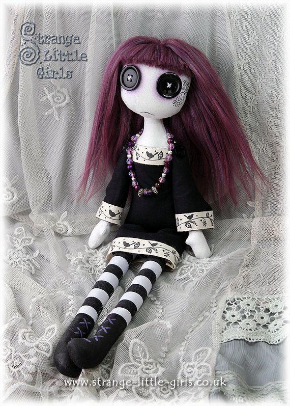 15 Inch Gothic Cloth Art Doll With Button by StrangeLittleGirlsUK