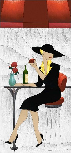 Bistro dame - Lady at the Bistro by Manon Cayer https://www.facebook.com/manon.cayer.1