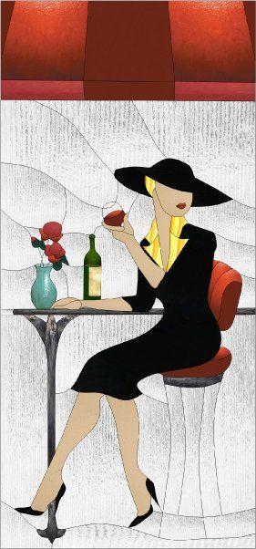 Una dama y una copa de vino
