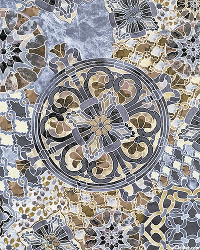 Timeless Treasures - Mosaic C8610-Natural Mandala