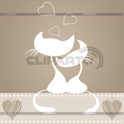 Влюбленные кошки   Векторный клипарт   ID 3260955