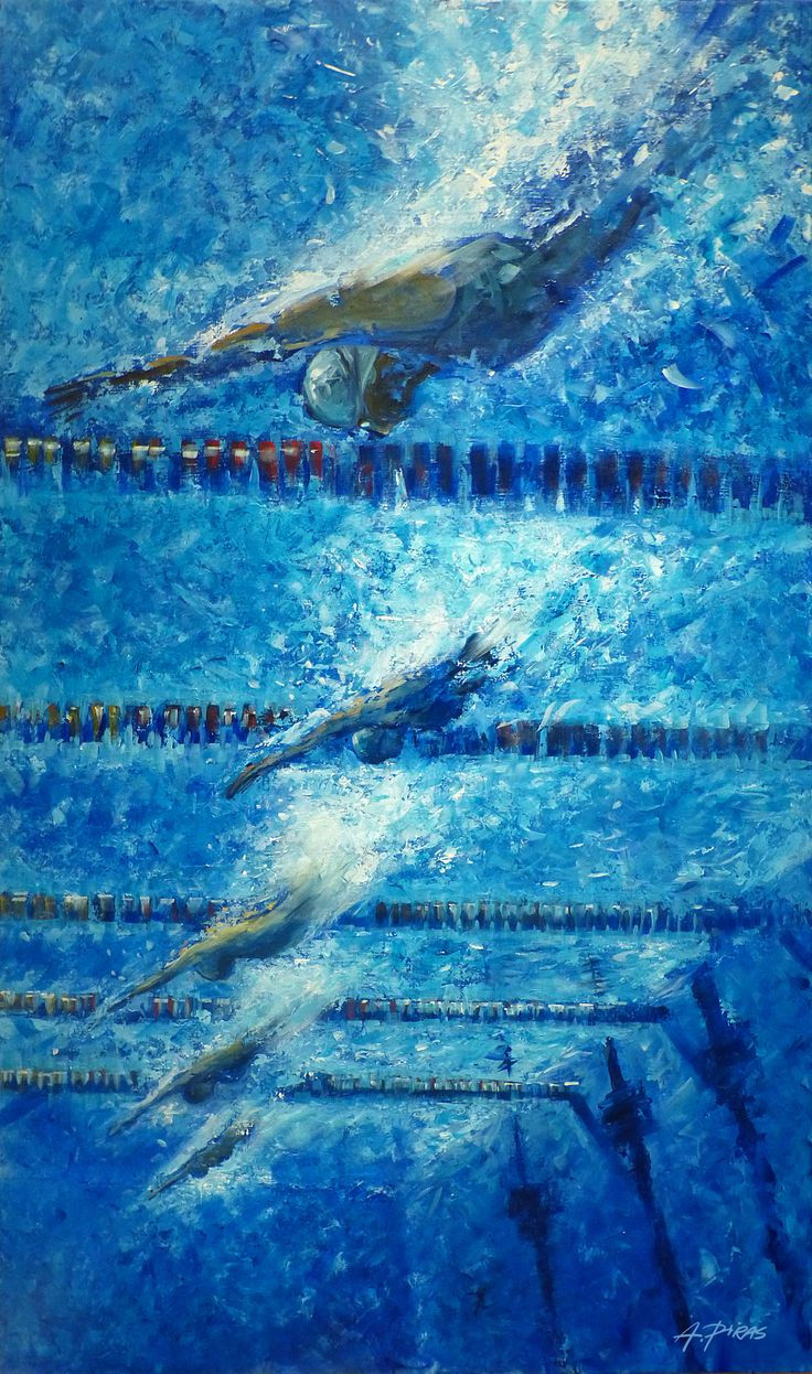 Swimmers Painting by Alessandro Piras