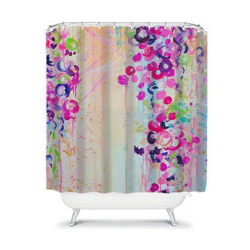 DANCE of THE SAKURA Fine Art Spring Abstract Pastel Floral Painting Shower Curtain by EbiEmporium, #showercurtain #shower #bathroom #homedecor #pastel #girly #sakura #floral #cherryblossoms #flowers #colorful #moderndecor #ebiemporium