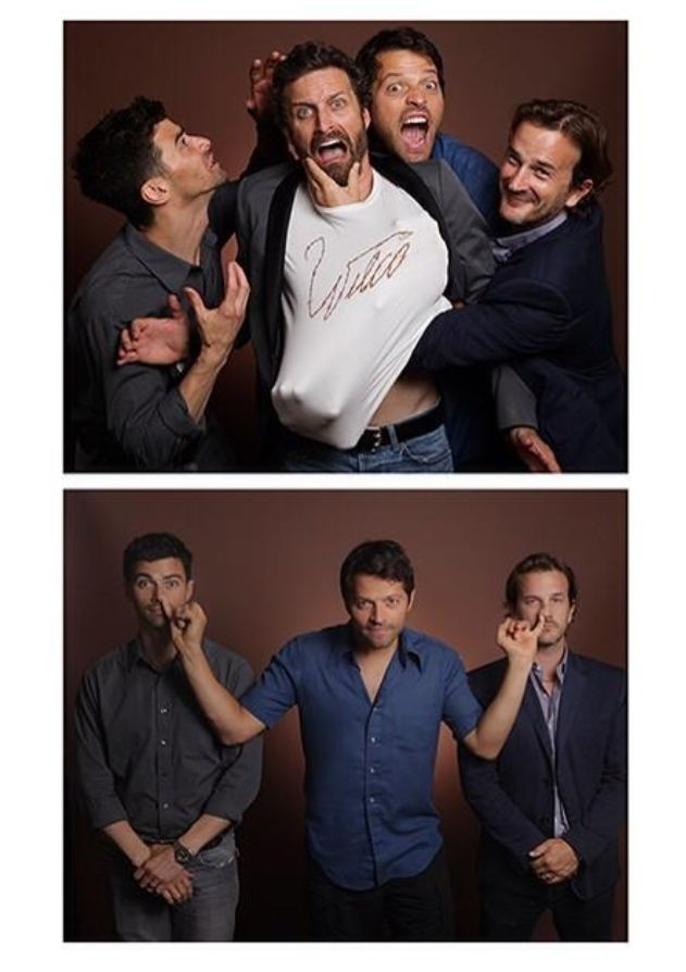 limited edition prints of Matt, Misha, Richard, and Rob at #NJCon2014 <<And here we see Misha Collins being a lil shit.