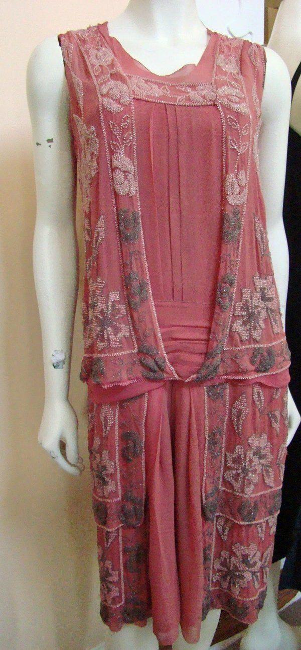 Винтажный Deco 1920-х Роза креп шифон с бисером заслонка платье