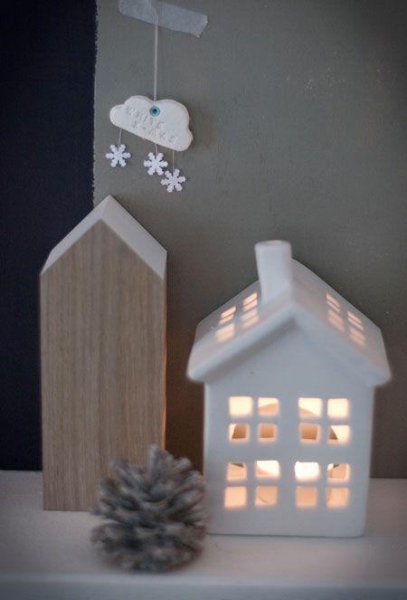 Maison lanterne en porcelaine/céramique
