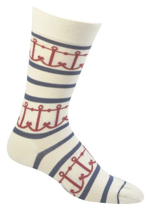 Mens Interlocking Anchors Sock - Cream