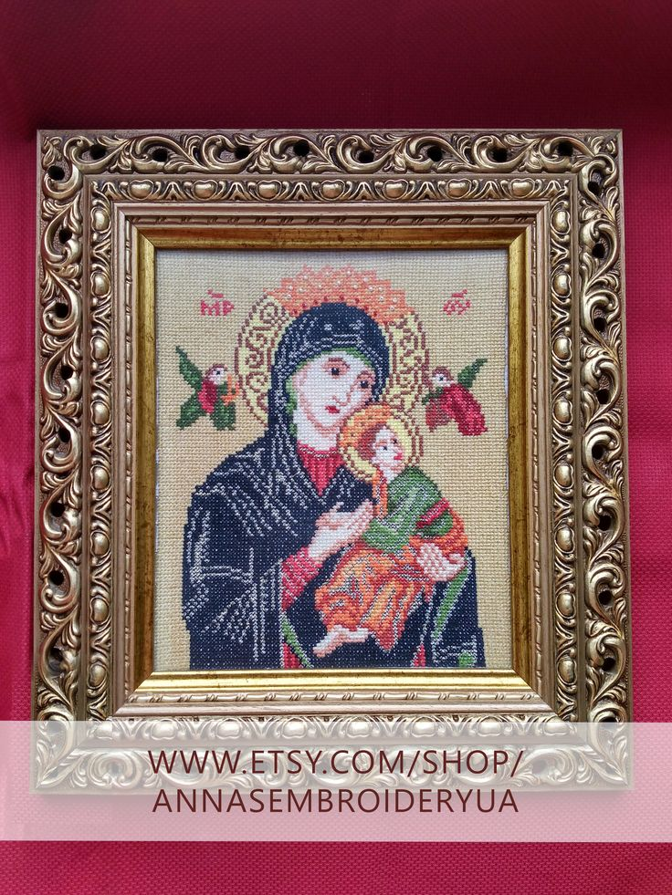 Lady of Perpetual Help. Framed beaded embroidery (completed) made by hands. Wooden frames, anti glare glass.