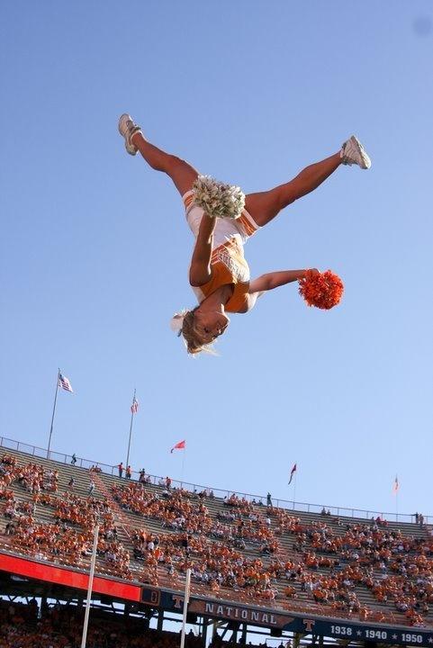 University of Tennessee Cheerleading, cheerleaders, cheerleader, game, stunt, in the air #cheer #KyFun