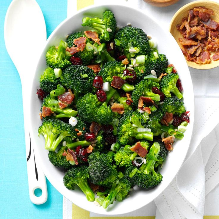 Crunchy Broccoli Salad Recipe -Growing up, I never liked broccoli, but I'm hooked on this salad's light, sweet taste. It gives broccoli a whole new look. —Jessica Conrey, Cedar Rapids, Iowa