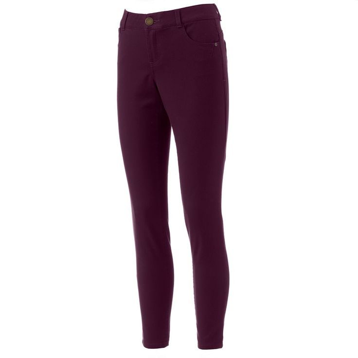 Women's Artisan Crafted by Democracy Slimming Curvy Fit Skinny Pants, Size: 10, Drk Purple