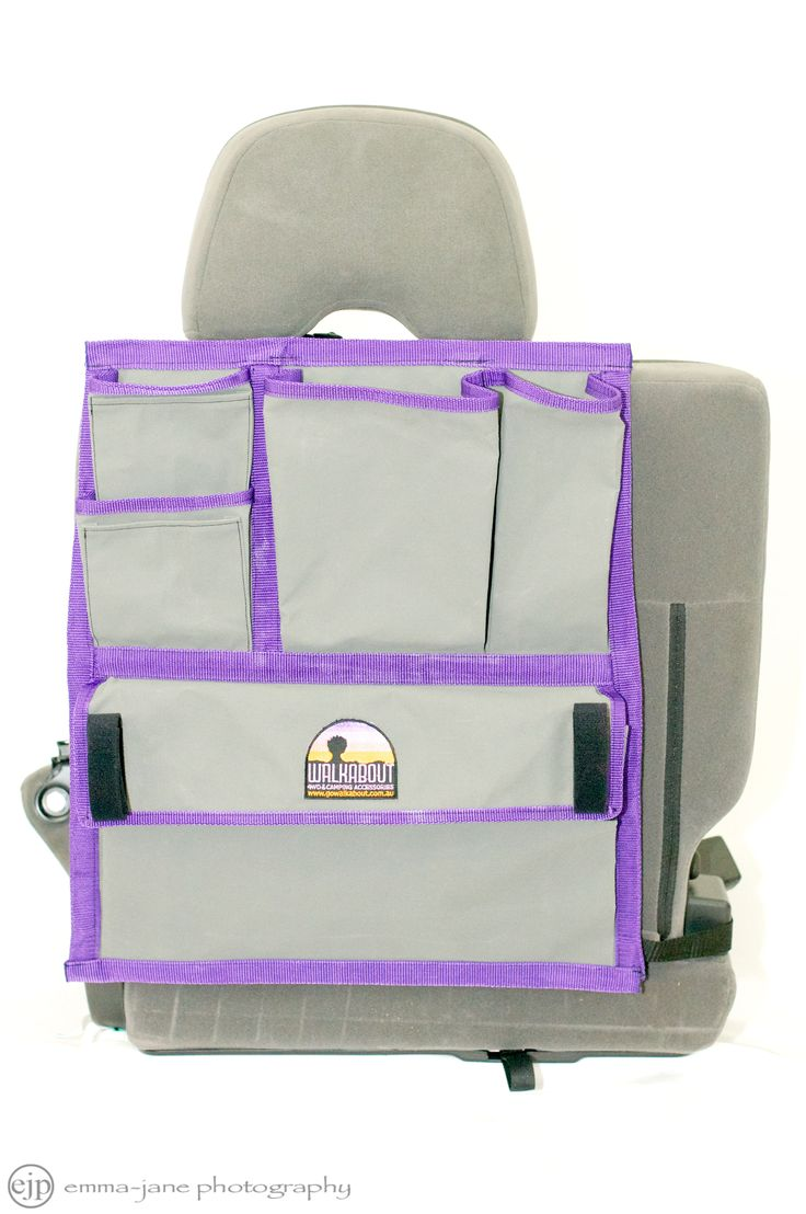 Designed and manufactured in Australia from quality Dynaproofed 8 ounce canvas WALKABOUT's 7 pocket seat back organiser is the perfect in-car vehicle storage solution.   Made from quality canvas and available in a choice of binding colours.