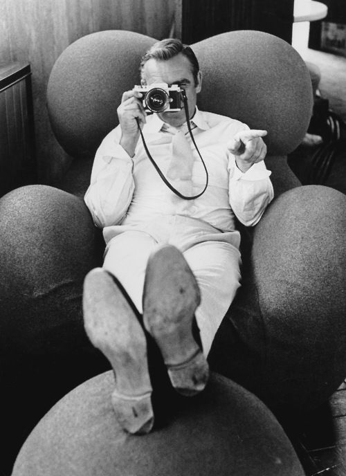 Sean Connery. Seated in the La Mama Chair designed by Gaetano Pesce for B&B Italia in 1969.