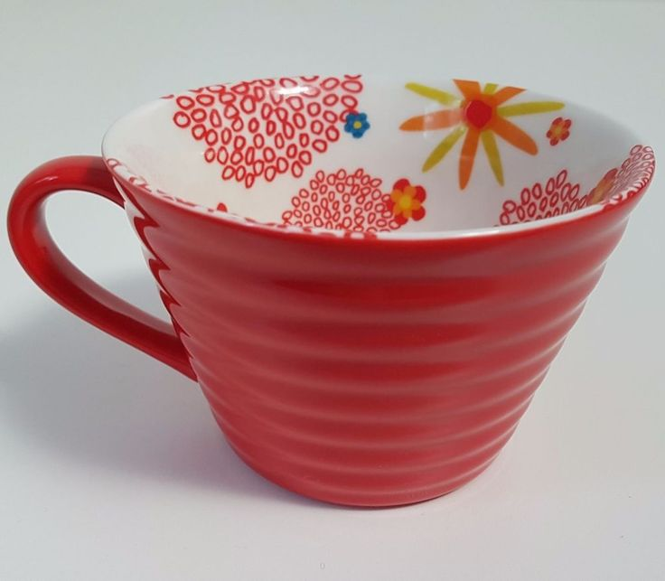 Starbucks Red Ribbed Coffee Mug Cup w/ Flowers Floral Inside 2007 12 oz | Collectibles, Advertising, Food & Beverage | eBay! GOR*GEOUS