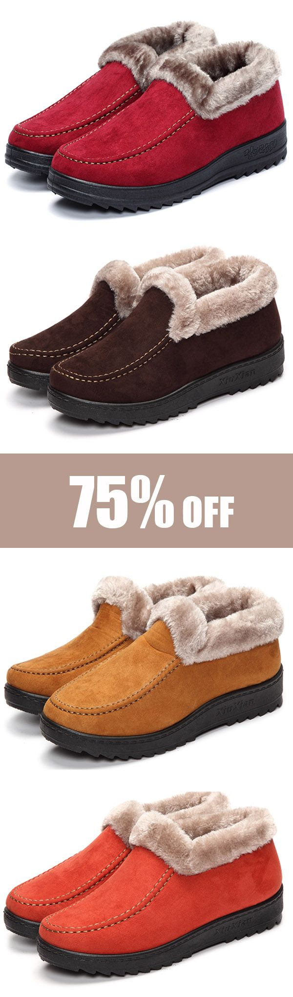 Suede Wool Lining Slip On Ankle Short Snow Boots. Comfortable and warm boots in winter. #shoes #style #fashion