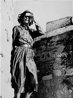 Greta Garbo visiting the Acropolis in the 1950's