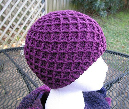 I love this hat! I've made at least 3 of these and a matching scarf using the pattern stitch. It's a thick hat, because you're basically making the hat with two layers, created at once: the ridges, and the base. It's a great winter hat.