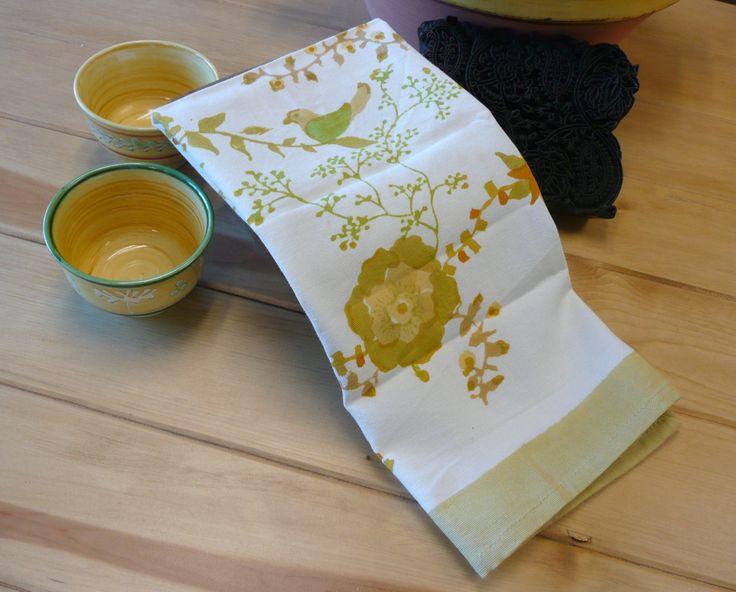 Treetop Yellow Green Tea Towel