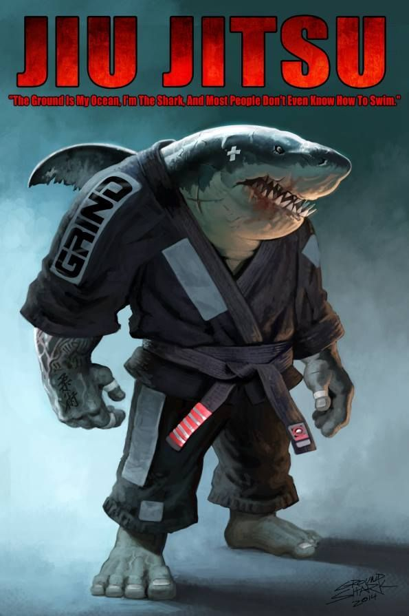 "John Connell's design from a quote from the legendary Carlos Machado: ""The ground is my ocean, I'm the shark, and most people don't even know how to swim."" I love the Grind Jiu Jitsu Gi"